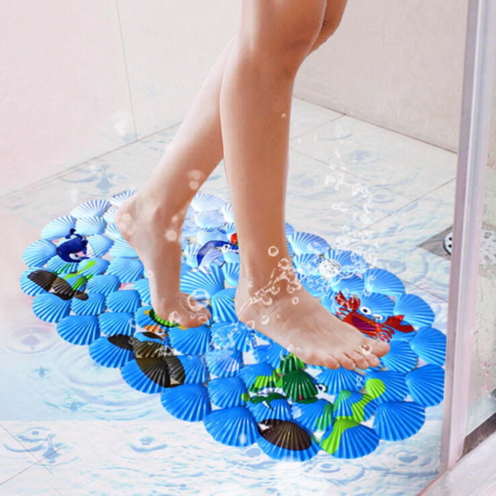 Marine Print Non Skid Suction PVC Bath Shower Mat for Baby Kids