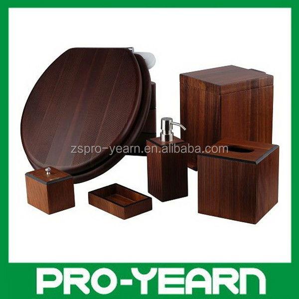 6 unids madera accesorios de ba o set sets de ba era for Accesorios de bano de madera