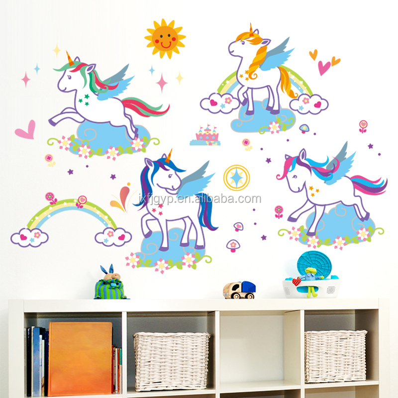 Full color art painted cartoon unicorn kids bedroom layout vinyl decal DIY