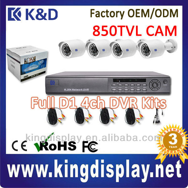new k&d h264 standalone security surveillance network diy cctv dvr kit with 4ch d1 dvr 850tvl ir ip66 mini cctv camera