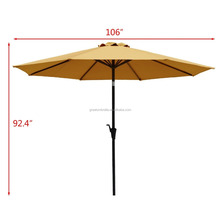 9ft patio umbrella with UV-resistant canopy