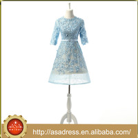 RASA-49 Modest Evening Party Gown with Sleeves A Line Light Blue Short Prom Dress for Party Real Design