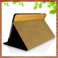 luxury wood leather ultra thin smart stand case cover for apple ipad mini 2/3