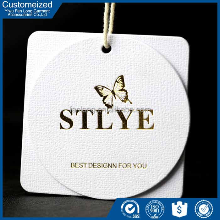 Beauty paper hangtag gold foil round hang tags