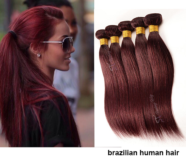 Guangzhou wholesale 100 remy hair kinky straight burgundy hair weft