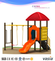 china supply plastic outdoor playground combined slide and swing
