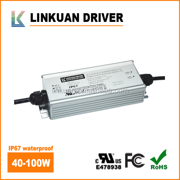 UL IP67 waterproof power supply Outdoor light 26-40V 1700-2700MA Constant current led driver 100w