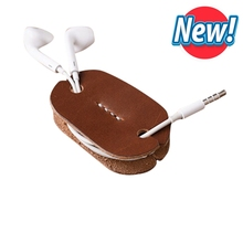 New Arrival Leather Earphones Holder Logo Custom Leather Earphone Cable Winder