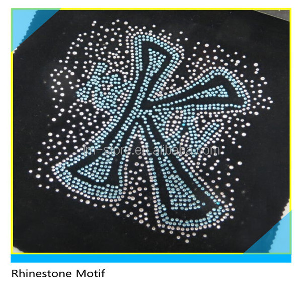 Glitter Rhinestone LT.Blue K Alphabet Letters Design Iron On Transfers Custom Rhinestone Motif Wholesale
