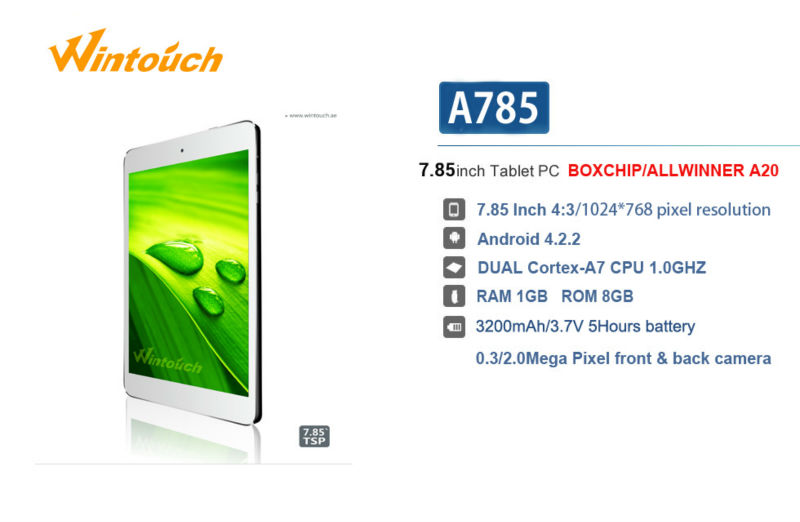 wintouch A785 dual core tablet with metal cover, wintouch tablet android