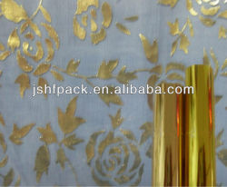textile used hot stamping foils in rolls in gold color with washing fastness and thermostability