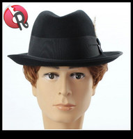 Men's 100% Wool Felt Gangster Godfather Homburg PIMP MOB Feather Fedora Hats