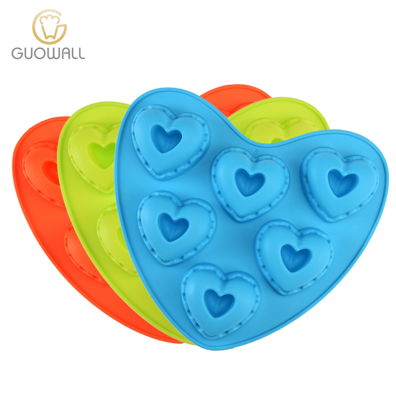 6pcs In 1 Heart Shape Sillicone Cake Mould Customized Color Cake Mould Bakeware