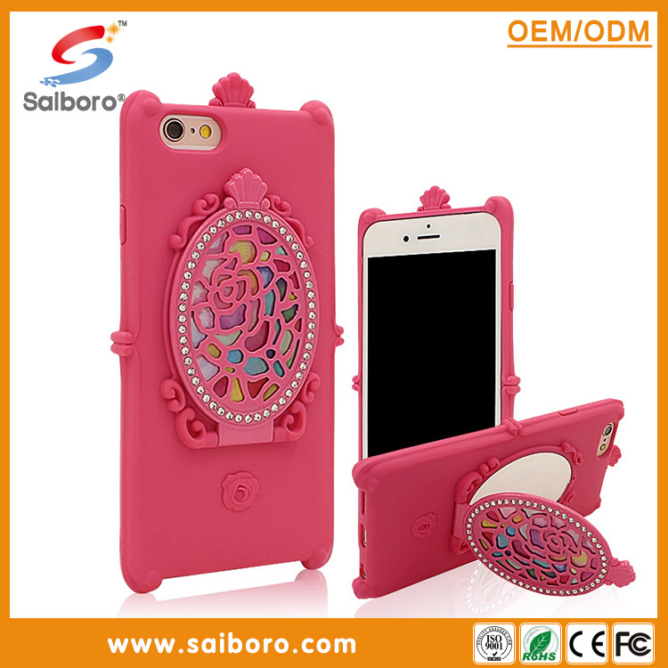 2016 beautiful design tpu mirror cell phone cases for iphone6plus with holder