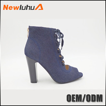 2017 low price wholesale denim high heels ladies shoes in china