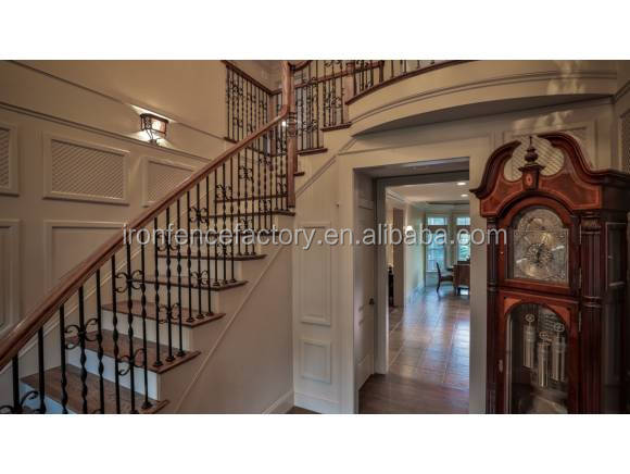 modern design wrought iron stair glass railing prices