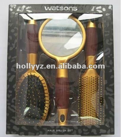Hot sale plastic design hair brush and mirror set