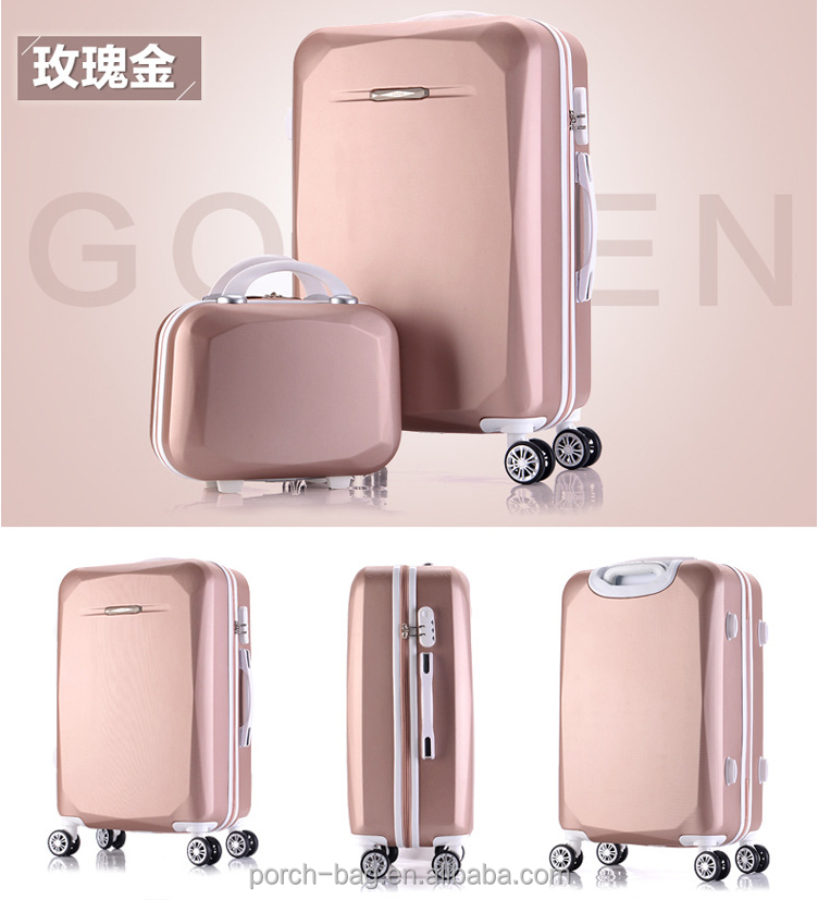 2017 hot sale Promotional 2 Pcs Luggage Travel Set Bag ABS+PC Trolley Suitcase with high quality