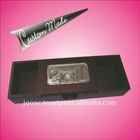 Multi purpose wooden box with 3D pewter