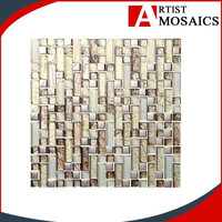 Guangdong high quality square mixed glass tile backsplash for sale