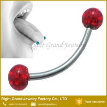 316L Surgical Steel Oil Coated Ring 14mm 16mm Curved barbell Ferido Crystal Tongue Ring
