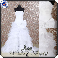 RQ038 White RuffledOrganza Sexy Front Slit Designer Wedding Dresses Turkey