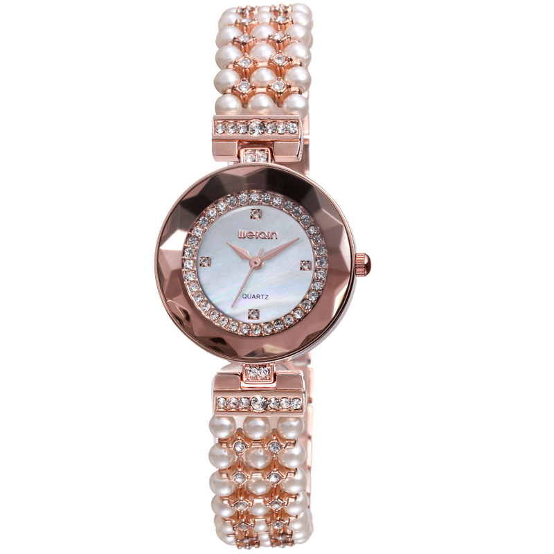 Latest Design Vogue Jewellery Bangle White Pearl Alloy Band Ladies Wrist Quartz Bracelet Watch