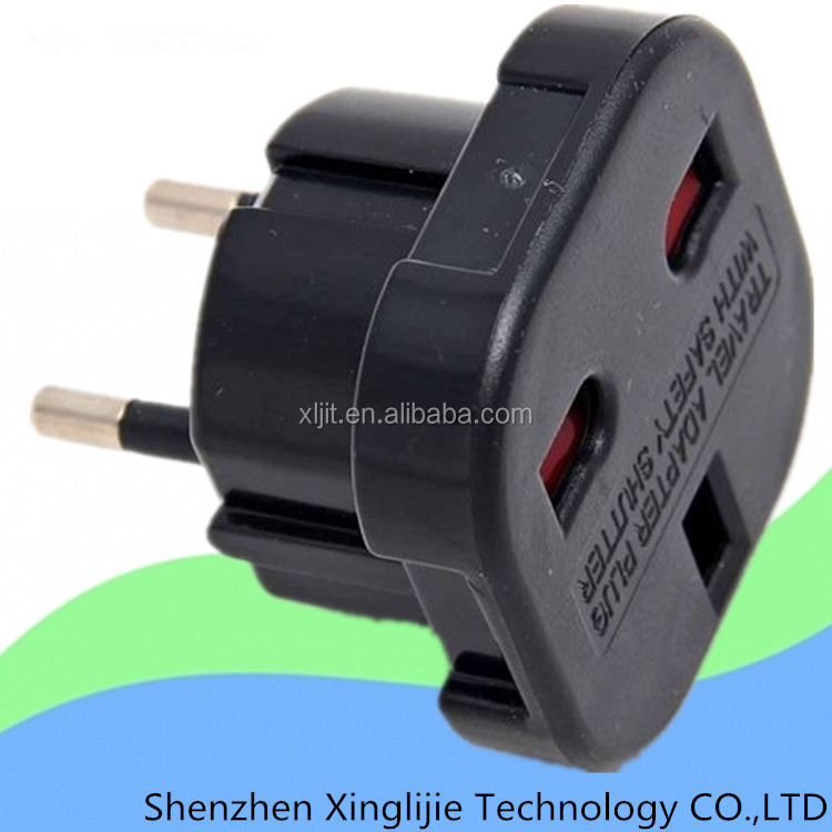 Universal Black UK to EURO EU AC Power Travel Plug Adapter Converter Outlet