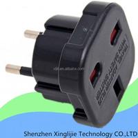 Universal Black UK to EURO EU AC Power Travel Plug Adapter Converter Outlet