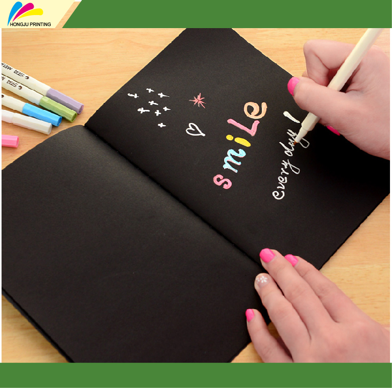 wholesale factory made custom hard cover black paper notebook