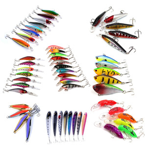 HiUmi Lot 53pcs Metal Bait Swim Baits Minnow Crank Pencil Vibration/VIB Lure kits Fishing Lures Spoons Minnow Crank Set