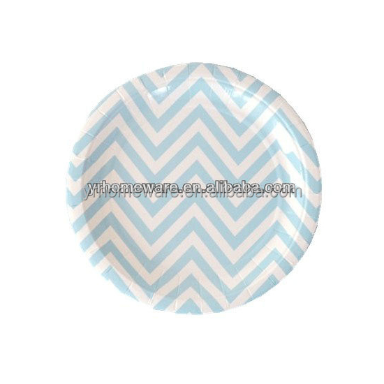 7 Inch Chevron Blue Stripe Paper Plate pink striped paper plates