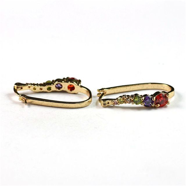 Pretty 18K Yellow Gold Filled Colorful CZ Womens Huggies Hoop Earrings Factory