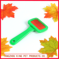 Pet deshedding tool unique small dog brush with plastic handle