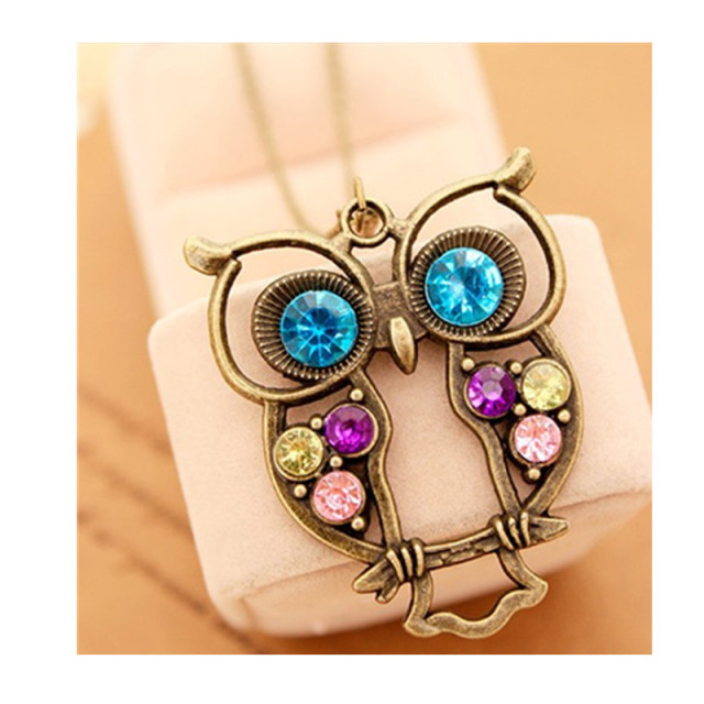 x15  Hot Sale Vintage Crystal Owl Pendant Necklace Collier Bijoux RetroChain Rhinestone Animal Necklace Women Costume Jewellery