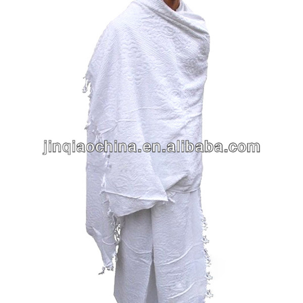 100% Polyester or Cotton cheap Plain white ihram hajj towel