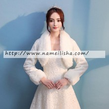 on sale big lapel rabbit fur bolero long sleeve black bolero jacket for evening dress wholesale