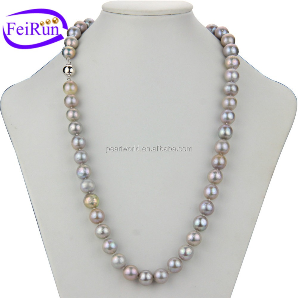 FEIRUN 11-13mm AA edison round grey color simple pearl necklace, pearl necklace choker, bead pearl necklace