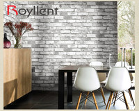 PVC Vinyl Brick Wallpaper/ White for Home Bar Wall Decoration 3D Brick Wallpaper