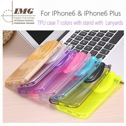 Alibaba china GEL TPU Rabitt mobile phone case for iphone 6 , with stand with lanyards 7 colors in stock