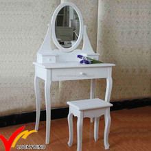 White Antique french style Bedroom Furniture Simple Wooden Vanity Dressing Table and Stool