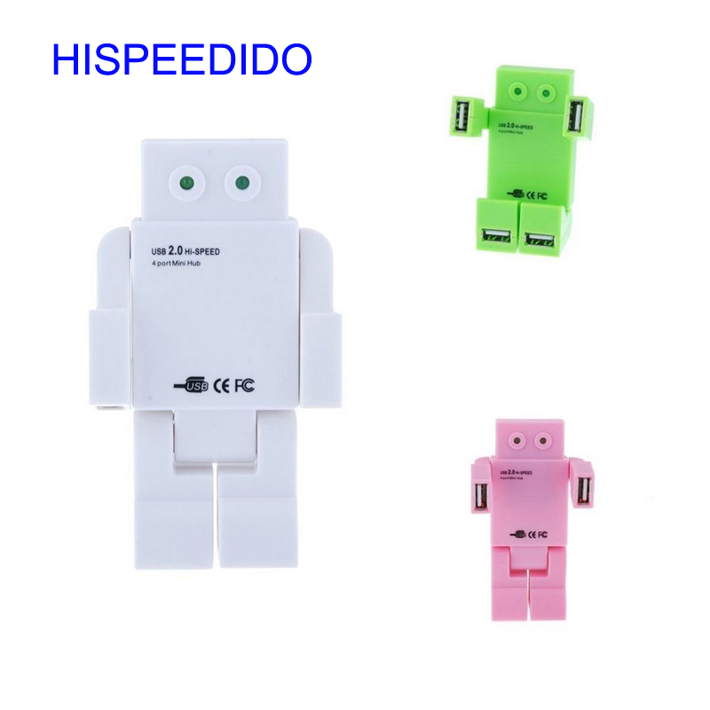 Promotion Gifts Hi-Speed USB 2.0 4 Port Doll Shape Splitter Adapter Cartoon Robot Hub Switch For PC Laptop Notebook Computer