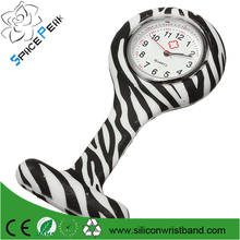 Free sample Hot Medical Nurse FOB Pin Zebra Silicone Watch Leopard Color Stripe Style Pocket Watch