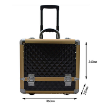 High quality aluminum rolling make up jewelry case hairdressing trolley