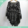 Wholesale cashmere acrylic fashion waves lady tassel winter poncho
