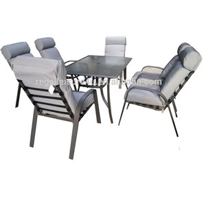 Outdoor Balcony Patio Garden 7pcs all alu stacking Sling padded stacking chair and Rectangle Table Sets