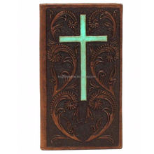 Mens Western Embossed Wallets Rodeo Leather Turquoise Cross Brown