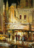 Handpainted Museum quality canvas oil painting of New York Six Avenue, famous impressionist cityscape paintings arts