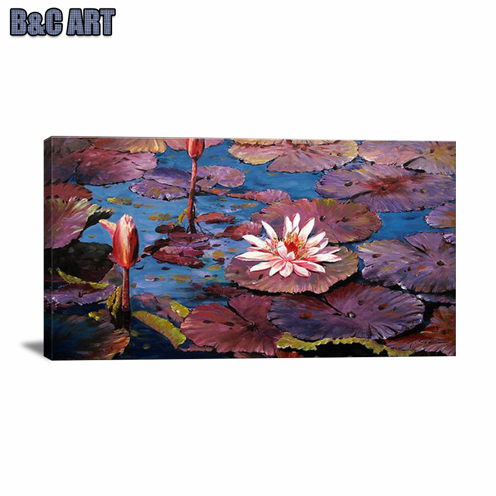 Hand painted Bright Colored Canvas Oil Painting Famous Lotus Painting Picture