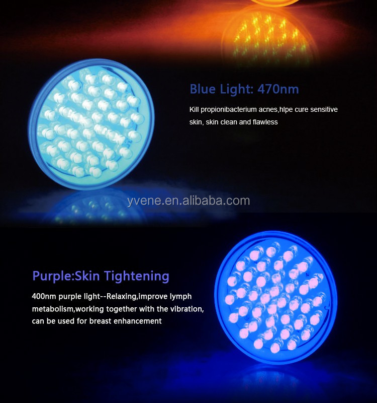 Vibrating Blue Colr led light therapy mask For Face Lifting
